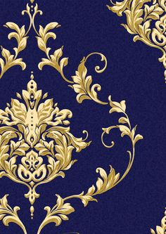 Sandringham Blue and Gold Luxury Blown Textured Vinyl Wallpaper 300301