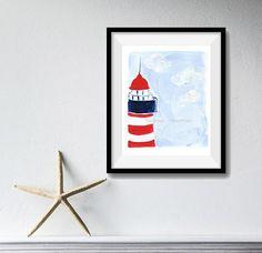 The Lighthouse Art Print lighthouse print nautical art