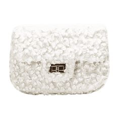 Hasp Faux Fur Chain Crossbody Bag White ($22) ❤ liked on Polyvore featuring bags, handbags, shoulder bags, chain crossbody, chain purse, white handbag, chain-strap handbags and white crossbody handbags
