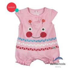 Pelele de manga corta bebe BOBOLI rosa carita