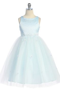 Blue Sleeveless Satin Flower Girl Dress with Sparkles JD1110B $55.95 on www.GirlsDressLine.Com