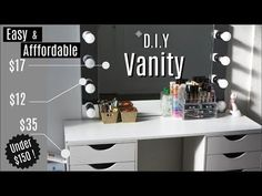 Vanity Desk & Mirror w/ LED Lights — Napturallyeverafter Also aside from this project being s Desk To Vanity Diy, Diy Vanity Mirror With Lights, Light Up Vanity, Vanity Room, Diy Desk, Diy Makeup Vanity With Lights, Ikea Vanity Table, Closet Vanity, Lighted Mirror