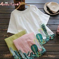 AS/ IT14308 blouse camicia donna manica corta Casual ricamo Broadcloth Cactus se