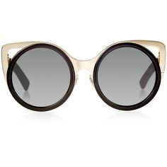 Linda Farrow x Erdem Black Gold Rim Round Sunglasses ($380) ❤ liked on Polyvore featuring accessories, eyewear, sunglasses, linda farrow, gold rimmed sunglasses, linda farrow glasses, cut out sunglasses and gold round glasses
