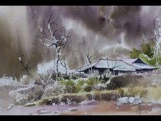 choeSSi art studio/how to draw a landscape of autumn scenery/水彩畵 風景畵 /최병화수채화(고향풍경) - YouTube