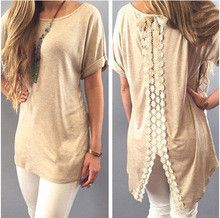 2015 After the split lace blouse stitching Fashion Women Lace Tshirt Summer Vest Top Short Sleeve Casual Tops