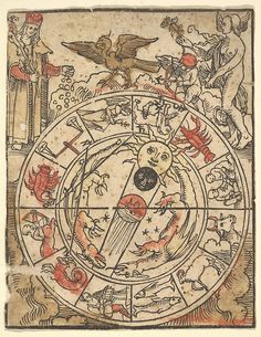 Hans Baldung Grien - Chart of the Signs of the Zodiac with Venus, Cupid, and a Bishop Saint. N.d.