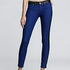 "Blank NYC Sprayed on Skinny Jeans These boldly hued Blank NYC skinny jeans boast a faux leather waistband and tuxedo stripes for added edge. Faux front pockets. Back patch pockets. Belt loops on waist. in Ives Blue.  New without tags.   76% cotton 22% polyester 2% spandex  Waist 30"" Hips 35"" Length 36 1/2"" Inseam 29"" Rise 7 3/4"" Circumference at hem 5"" Blank NYC Jeans Skinny"