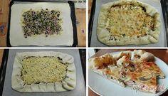 Recept Hamis pizza egyszerűen, tejfölös alappal Taco Pizza, Mashed Potatoes, Tacos, Dinner, Ethnic Recipes, Easy, Food, Puffer, Muffins