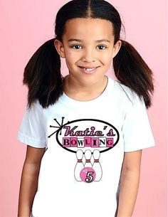 Bowling Birthday Kids Shirt Retro Personalized T-shirt for Girls