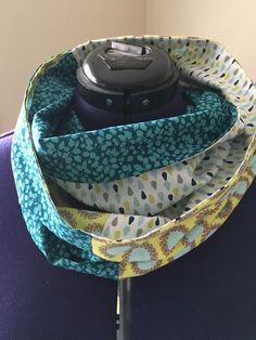 Snood, tour de cou double tour en coton bleu vert : Echarpe, foulard, cravate par coutosie