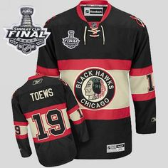 9bd1d2ca7 Blackhawks 19 Jonathan Toews Embroidered Black New Third With Stanley Cup  Finals NHL Chicago ...