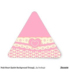 Pink Heart Eyelet Background Triangle Sticker
