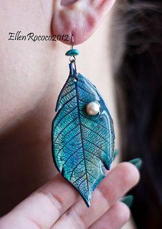 blue leaf earrings by Ellen Rococco