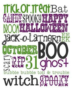 Free Halloween Printable - love the purple and green instead of traditional orange!