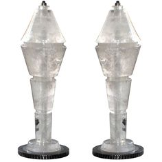 Large Pair of Rock Crystal Lamps Crystal Lamps, Vase, Lights, Rock, Crystals, Home Decor, Ideas, Homemade Home Decor, Stone