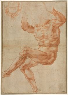 Study for the Nude Youth over the Prophet Daniel (recto); Figure Studies for the Sistine Ceiling (verso), 1510-1511 Michelangelo Buonarroti (Italian, 1475-1564) red chalk over black chalk, Sheet: 34.30 x 24.30 cm