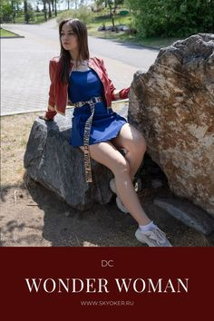 Set: Wonder Woman blue skater dress and red leather jacket inspired by DC Superhero Girl Clothing Dc Superhero Girl, Dc Clothing, Wonder Woman Outfit, Girl Outfits, Casual Outfits, Deep Blue, Skater Dress, Corset, Dc Comics