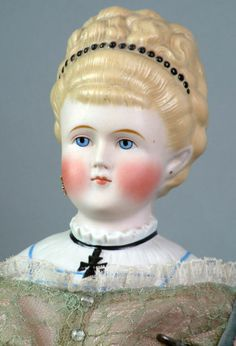 """*SUPERB* 29"""" Antique PARIAN Lady Doll With Elaborate Updo and Iron Cross!"""