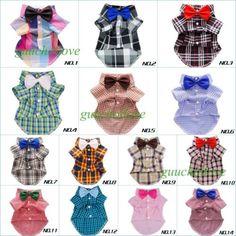 Fitwarm-Plaid-Shirts-Collection-Dog-Clothes-Polo-Pet-Apparel-Wedding-Bows-S-M-L