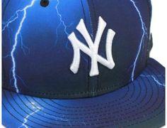 New York Yankees Lightning Print Blue 59Fifty Fitted Baseball Cap by NEW ERA x MLB