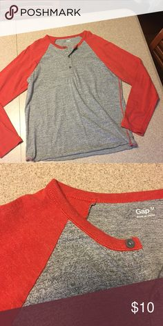 Gap Henley NWOT....orange/charcoal....super soft GAP Shirts