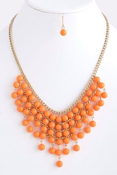 Coral Bib Necklace with Earrings - Anthropologie Inspired Statement Necklace