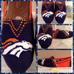 107c087f214b4 Handmade Denver Broncos TOMS Canvas Shoes Broncos Custom Toms
