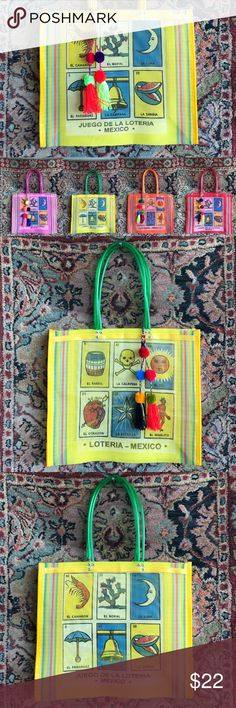"""Woven La Loteria Mexican Tote w Pom Pom Tassel! Woven and screen printed and oh so fun! La Loteria is a typical Spanish game played in many countries. Each bag has two sides with 6 cards each. Image 1 shows all colors available while images 2 & 3 show each side of the bag. Each bag is double strapped on each side for comfort and durability. Measures 14.5"""" L and 17"""" W and 5.75"""" deep. Please select color below and note pom poms cannot be interchanged. There are 2 red totes so Pom Pom may vary…"""
