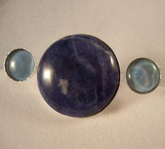 Big Blue Sodalite and blue white Opal 2 finger by ApacheMoon, $69.99