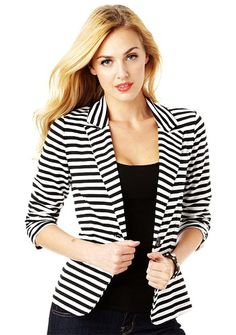 Ladies Black And White Blazer