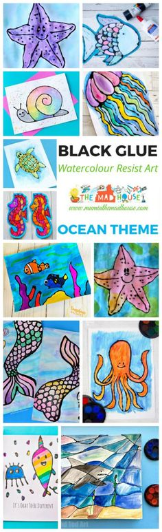 The complete under the sea watercolour glue resist Roundup. Yes, Ocean Watercolour Glue Resist Art Ideas many with free printables to make it e - Tap the link to see the newly released collections for amazing beach bikinis! Nerd Crafts, Fun Crafts To Do, Easy Arts And Crafts, Crafts For Kids, Kids Diy, Ocean Activities, Craft Activities For Kids, Preschool Crafts, Projects For Kids