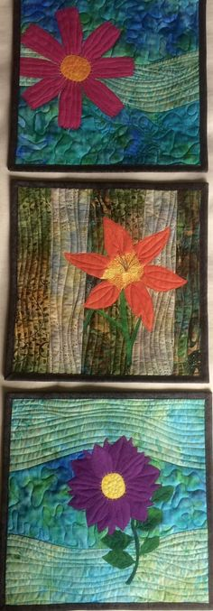 Art Quilts Three Flowers, 3 Small Quilted Wall Hangings, Landscape Quilts Flowers, Fiber Art Wall Quilts, Home Decor Purple Orange Pink by RachelFabricArt on Etsy