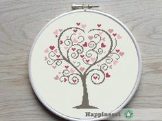 Cross stitch pattern love tree or wedding tree. Buy 4 patterns and get 25% discount! Place 4 patterns in your cart and enter the code HAPPINESST3and1free at checkout and you get 25% discount. The pattern comes as a PDF file that youll will be able to download immediately after purchase.