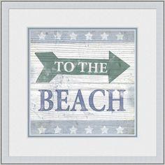 Beach Sign VII Giclee Print in Wood Frame