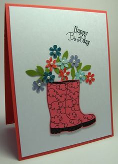 stamping up north with laurie: Happy Bootday! Homemade Birthday Cards, Homemade Cards, Scrapbooking, Scrapbook Cards, Birthday Card Messages, Birthday Message, Birthday Bash, Birthday Cakes, Pumpkin Cards