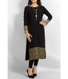 Black Boski Lawn Kurta with Golden Block Printed Daaman and Heavy Embroidered Cuffs - with Stones and Pearl Necklace Simple Dresses, Elegant Dresses, Nice Dresses, Stylish Dresses, Indian Attire, Indian Wear, Pakistani Outfits, Indian Outfits, Desi Wear