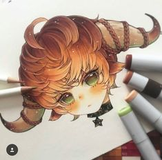 Taurus♉️✨✨ _____ Little zodiac devils will be turned into stickers and (hopefully) acrylic charms! Might have to open preorder for the… Copic Drawings, Kawaii Drawings, Cute Drawings, Copic Marker Art, Copic Art, Arte Do Kawaii, Kawaii Art, Anime Art Girl, Manga Art