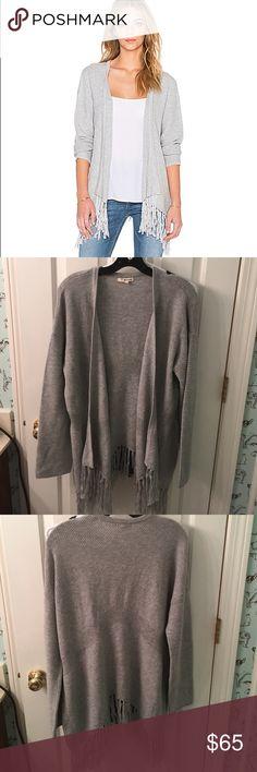 "LA Made ""Megan"" fringe trim cardigan NWOT NWOT ""megan"" cardigan. Runs large (i am a solid 12 and the L swallowed me). Nylon/poly/wool blend. Open front. Fringe trim. LAmade Sweaters Cardigans"