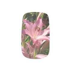 Pink Lilies Minx Nails Minx® Nail Art#lilie#pink#flower#nails