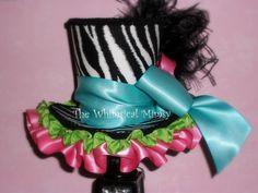 Whimsical zebra mini top hat