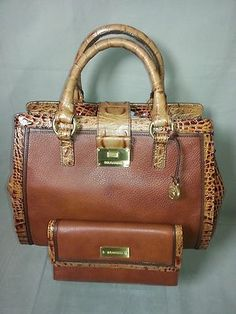 Brahmin Designer Handbag Toasted Almond Leather Satchel & Wallet NEW $449