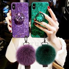 Luxury glitter Phone Case For iPhone X XR Xs Max 6 s 7 8 Plus Hairball furry For Samsung Plus Note 8 9 Silicone Cover Iphone 7 Plus Couleur, Iphone 8 Plus, Iphone 11, Iphone Cases For Girls, Hard Phone Cases, Cute Phone Cases, Iphone 7 Coque, Glitter Iphone 6 Case, Samsung S9
