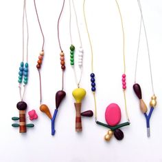 whimsical wood necklaces by pipapiep on Etsy.