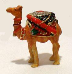 Camel Pill/Trinket Box Vintage Enamel & Crystals SOLD