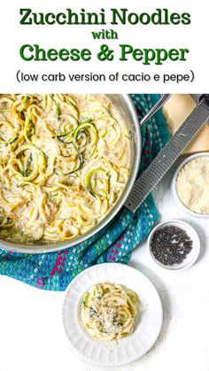 Keto zucchini noodles when loaded with tasty cheeses and lots of pepper are very delicious as well as quick and easy! This recipe is very similar to cacio e pepe pasta but with low carb zucchini noodles or zoodles! You can make this gluten free pasta dish in less that 15 minutes and it has only 3.9g net carbs. Cheese Recipes, Keto Recipes, Easy Pasta Dishes, Zoodle Recipes, Gluten Free Pasta, Cooking Together, Zucchini Noodles, How To Cook Chicken, Food Hacks