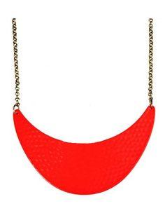 Neon Orange Dappled Metal Crescent Collar Necklace
