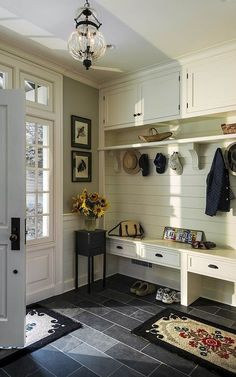 I would like to do this out in the garage. Shiplap on the walls, cabinets above, floors in similar tile.