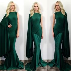 Emerald green one shoulder kimono sleeve goddess gown . Simply elegant and stunning email our sales rep VALERIE@SHOPCOSTELLO.com for custom size or order info . Available in size 0-2-4-6-8-10-12-14-16-18 hair @ron1mm make up @beautybytayrivera model @stephmurone