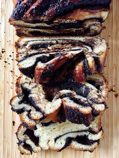 Jewish Chocolate Babka with Streusel Topping Is Baked in a Loaf Pan